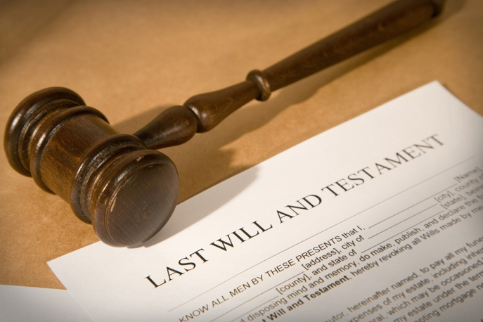 Gavel on Last Will and Testament Paper